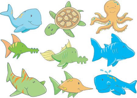 whale underwater: Vector Illustration of Underwater Creatures