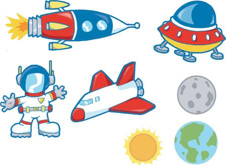 Vector Illustration of Outer Space Elements Ilustração