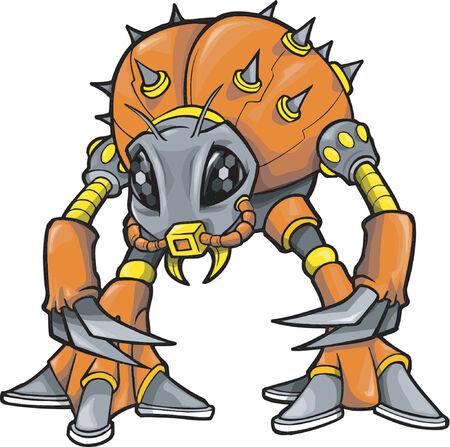 Robotic Monster Vector Illustration Illustration