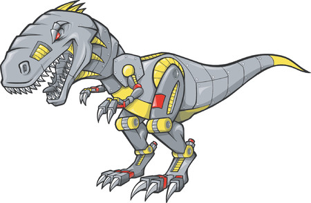 prehistoric era: Mechanical Dinosaur Vector Illustration
