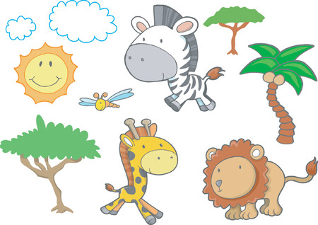 Safari Animals Vector Illustration
