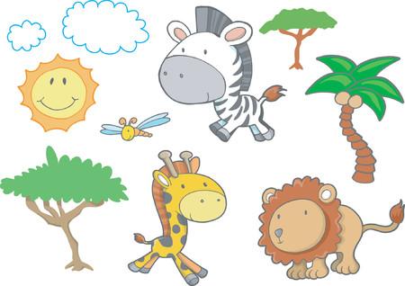 Safari Tiere Vektor-Illustration  Standard-Bild - 892625