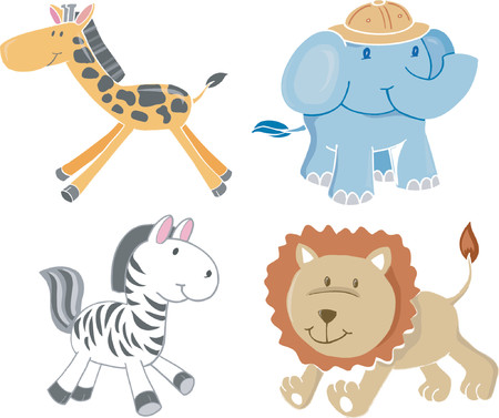 plains: Safari Animals Vector Illustration