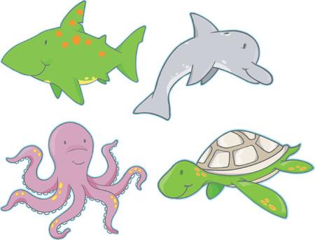 Underwater Creatures Vector Elements Stock Vector - 892627