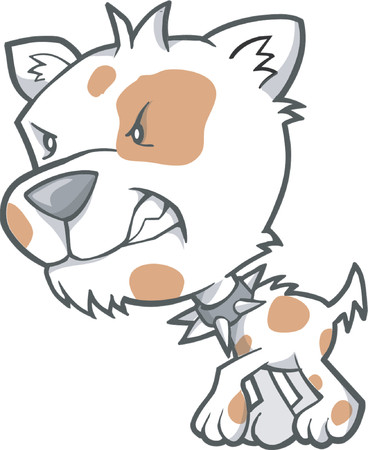 dog kennel: Mean Dog Vector Illustration
