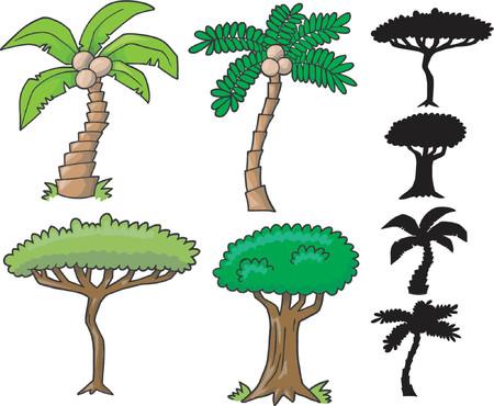 arboles de caricatura: Vector de recogida de �rboles