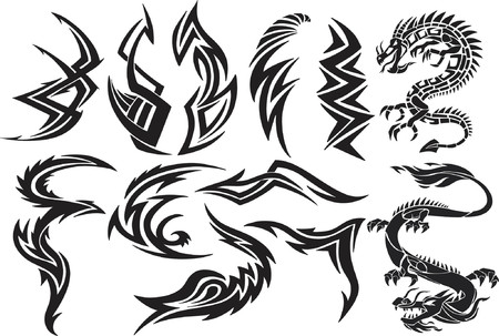 Dragon & Tribal  Vector Elements Stock Vector - 892643