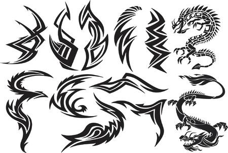 Dragon & Tribal  Vector Elements