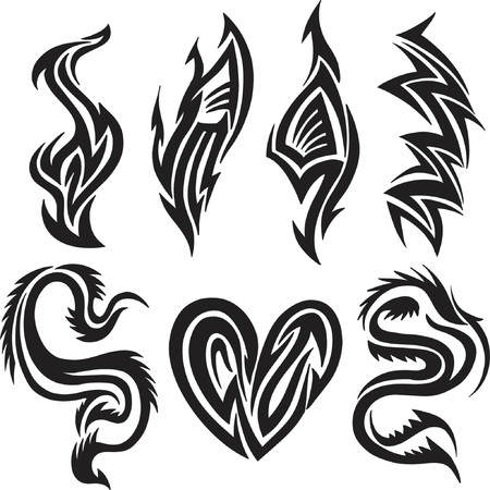 sharp curve: Tribal Tattoo Vector Illustration