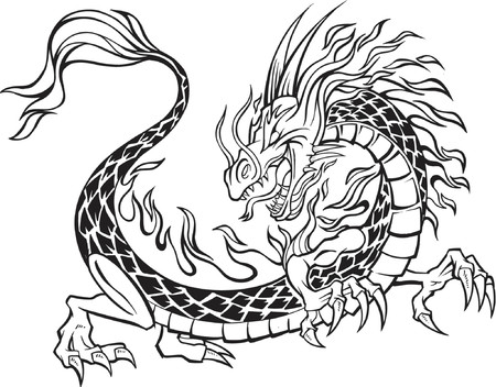 japanese culture: Dragon Vector Illustration