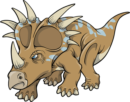 Vector Illustration of a Triceratops Dinosaur Vector