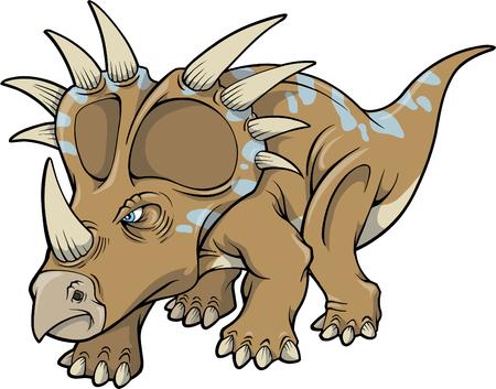 Vector Illustration of a Triceratops Dinosaur