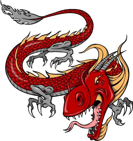 Vector Illustration of a Red Dragon Çizim