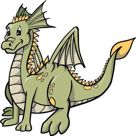 dragon: Green Dragon Vector Illustration