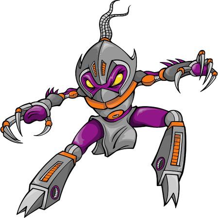 Ninja Robot Cyborg Warrior Vector Illustration