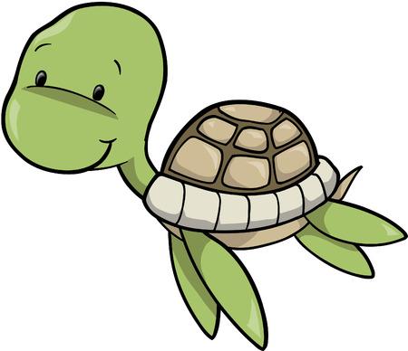green sea turtle: Sea Turtle Vector Illustration