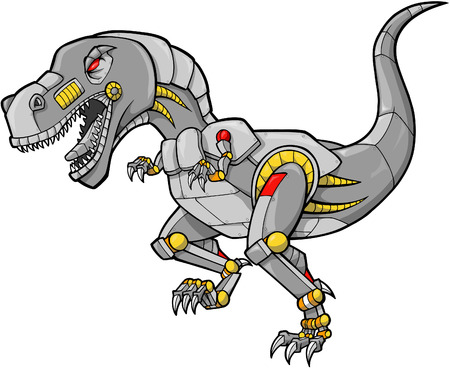 mechanical Dinosaur Vector Illustration Ilustracja