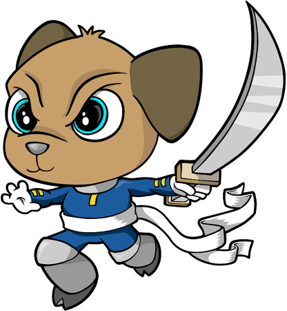 Samurai Warrior Dog Vector Illustration Vector