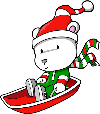 тундра: Holiday Polar Bear Vector Illustration Иллюстрация