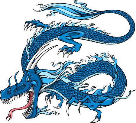 dragon: Blue Dragon Vector Illustration