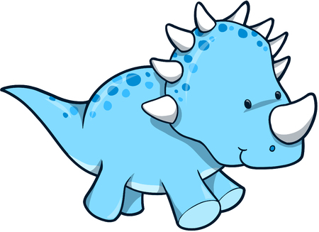 dinosaur cute: Blue Dinosaur Vector Illustration Illustration