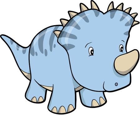 triceratops Blue Dinosaur Vector Illustration Illustration