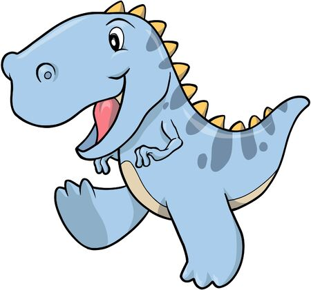 Blue T-rex Dinosaur Vector Illustration Иллюстрация