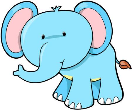 Blue Elephant Vector Illustration Illustration