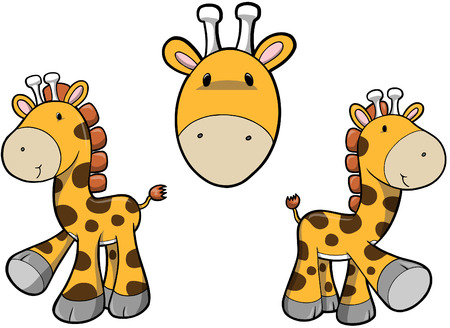 Giraffe set Vector Illustration