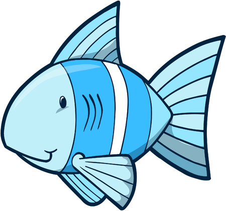 underwater fishes: Blue fish Vector Illustration