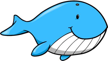 ballena azul: Cute ballena azul ilustraci�n vectorial