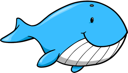 marinelife: Cute blue Whale Vector Illustration