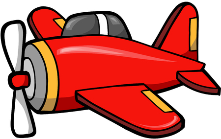 Cute Red Plane Vector Illustration