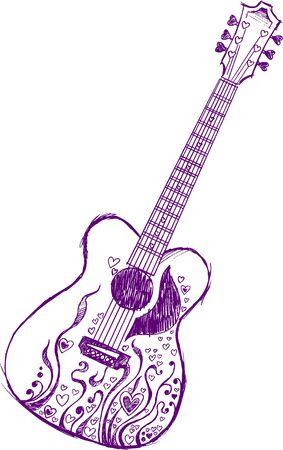 Sketchy Heart Guitar Vector Illustration