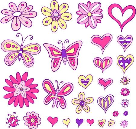 girlie: Flower Heart and Butterfly Set Vector Illustration