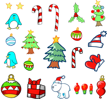 candycane: Christmas Holiday Set Vector Illustration