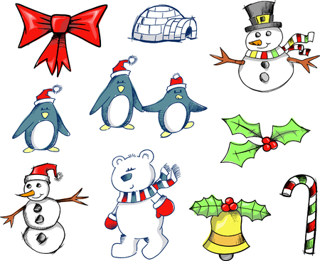 Sketchy Christmas Holiday Set Vector Illustration Stock Vector - 1999266
