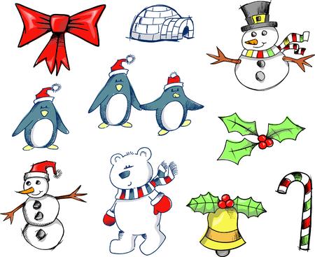 Sketchy Christmas Holiday Set Vector Illustration Stock Vector - 1999266