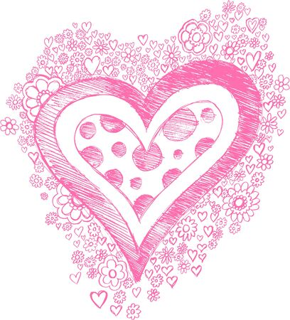Sketchy Heart and Flowers Vector Illustration