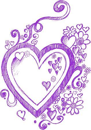 Sketchy Hart en Bloemen Vector Illustratie: Stock Illustratie