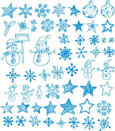 christmasball: Sketchy Christmas Holiday Set Vector Illustration