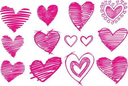 girlie: Sketchy Heart Set Vector Illustration