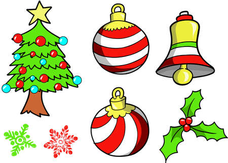christmasball: Christmas Holiday Set Vector Illustration