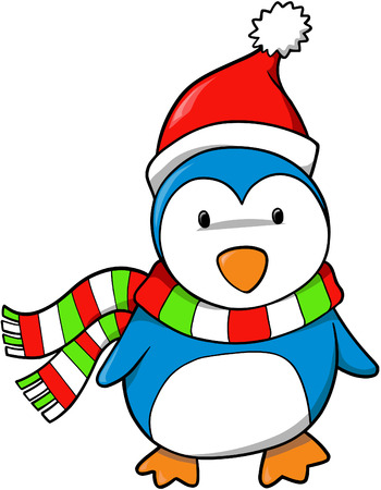 Christmas Holiday Penguin Vector Illustration