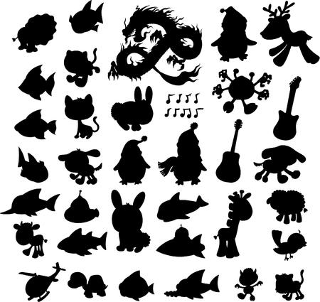 silueta de gato: Silueta conjunto ilustración vectorial Vectores