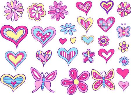 girlie: Hearts and Flowers Set Vector Illustration