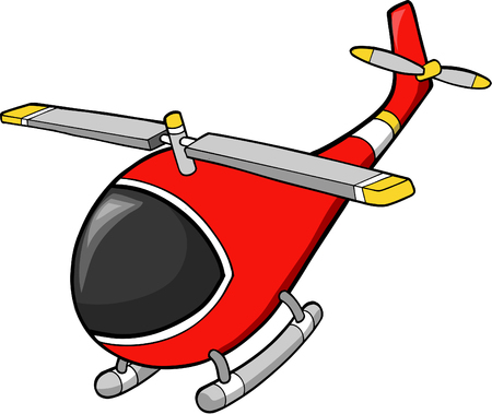Red Helicopter Vector Illustration