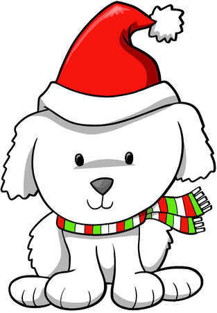 Christmas Holiday Puppy Vector Illustration