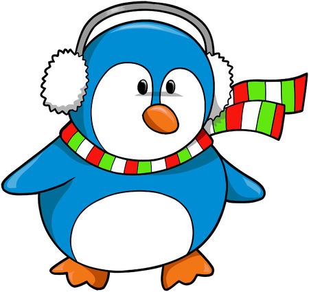 Christmas Holiday Penguin Vector Illustration Vector