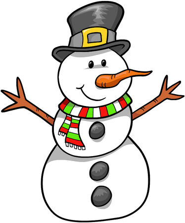 Christmas Holiday Snowman Vector Illustration Stock Vector - 2032167